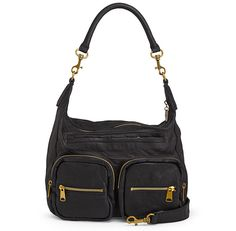 Ania by Liebeskind!  Available in 3 colors.  Ania is the relaxed hobo that gives any outfit an edge. Its unique double-dyed processing allows an more rugged look & feel. The patch pockets with gold zippers add to its cool demeanor. The most beautful bag comes into its own, when combined with a sporty or casual look. W x H x D (in): 17 x 17 x 5