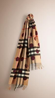 Burberry Classic Cashmere Scarf in check with dot print is made at a 200-year-old mill in the Scottish countryside. Monogram yours at Burberry.com