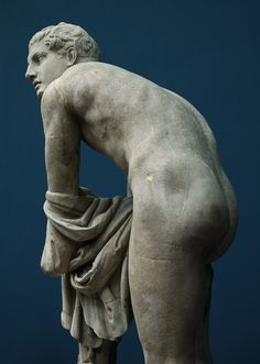 Sandal-Tying Hermes. Detail. Marble. Roman copy of the 2nd cent. CE after a Greek bronze original by Lysippos c. 330 BCE. Inv. No. 2798.Copenhagen, New Carlsberg Glyptotek.