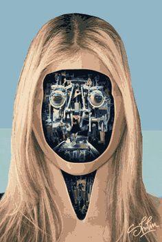 portrait gif surrealiste 06 Des têtes mécaniques surréalistes  divers design