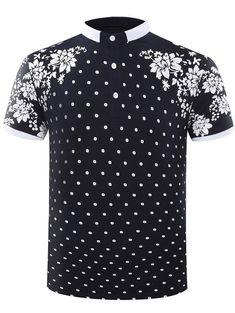 Hot Sale Turn-Down Collar Flower Theme Design Men's Short Sleeve Polo T- Shirt