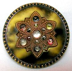 ANTIQUE MOTTLED CELLULOID BUTTON w/LACY GILT DOILY & FACETED PASTE GLASS JEWELS