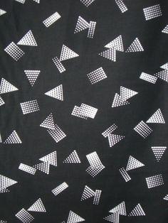 White on Jet Black Geometric Print Pure Cotton Sateen Fabric