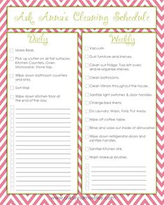 Daily, weekly & more FREE cleaning printables - Ask Anna