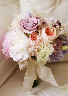 Lavender, pink, and cream bouquet.