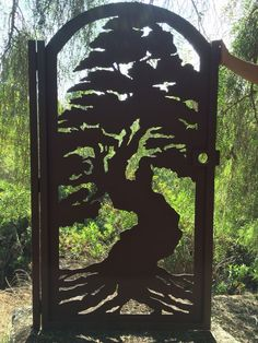 Bonsai Tree Gate Metal Art Pedestrian Walk Thru Entry Wrought Iron Steel Garden
