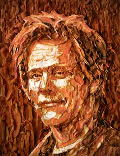 Kevin Bacon made from bacon -- amazing! Who thinks of these art mediums?