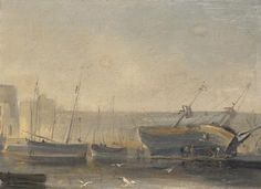 Attributed to Henriette Gudin (Paris, 1825 - 1876)  Oil on canvas. Brick abattu en carène.  Effect of fog on the harbor