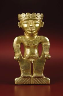 Monumental Standing Figure, Possibly a Shaman. Quimbaya, Urabá Area. A.D. 500 - 1000. Gold