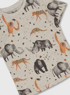 Buy Grey Safari Animal Print T-Shirt - months at Argos. Thousands of products for same day delivery or fast store collection. Safari Outfits, Jungle King, Disney Outfits, Kids Outfits, Animal Print T Shirts, Mood Images, Summer Prints, Boys Wear, Safari Animals