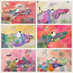 Art Room Britt: Catherine Rayner 'Solomon the Crocodile' in Watercolor and Mixed-Media