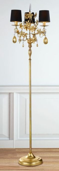 Floor chandeliers three light black gold italian floor lamp p 4235