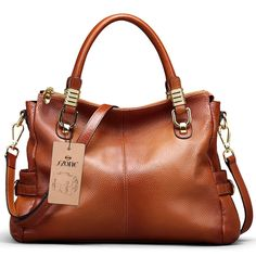 """S-ZONE Women's Vintage Genuine Leather Tote Shoulder Bag Top-handle Crossbody Handbags Ladies' Purse. Dimension(L*W*H)---14.1""""x5.1""""x 10.2""""/36x13x26CM (Fit up to 11"""" laptop), Handle height:4.7""""/12CM, Weight: about 2.18 pounds. Durable Material---First layer cowhide genuine leather. Processed with oil wax, as time goes by, the leather will be more soft.100% Brand New & High Quality. Smooth Zipper and High quality Hardware---Top zipper closure for your security. Well designed and quality…"""