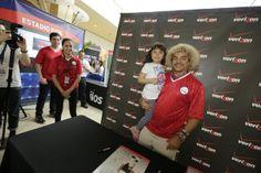 "Queens, NY - Colombian soccer legend Carlos ""El Pibe"" Vallderrama greets super fans at Queens Center on May 10, 2014"