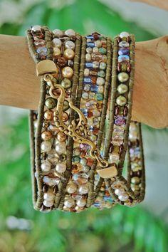 HOOKED on PEARLS Feminine 4 Wrap Bracelet on OLIVE Leather > Neutral/Olive Shell Pearls,Czech Fire-Polish blues/roses/ambers,Bronze Hook&Eye