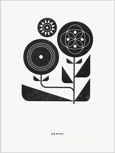 Gemini letterpress print by Katie Kirk Simple Illustration, Watercolor Illustration, Scandinavian Folk Art, Arte Popular, Letterpress Printing, Grafik Design, Creative Inspiration, Collage Art, Painting & Drawing