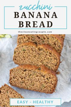 Zucchini Banana Bread Recipe is a healthy treat everyone will love! Add chocolate chips or turn into muffins with this versatile dessert! Healthy Bread Recipes, Healthy Muffins, Healthy Breakfast Recipes, Dairy Free Recipes, Healthy Treats, Clean Eating Recipes, Snack Recipes, Zucchini Banana Bread, Clean Eating Breakfast