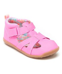 Neon Pink Floral Stage 3 Clio Leather Sandal #zulily #zulilyfinds