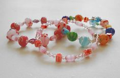 Hey, I found this really awesome Etsy listing at https://www.etsy.com/listing/218566628/pink-glass-bead-bracelet