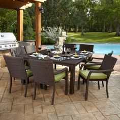 "Marabella 9-piece Dining Set   8 Stackable Stationary Dining Chairs and 64"" Square Dining Table with Lazy Susan. All-Weather Woven Resin Wicker with Sunbrella® Fabric"