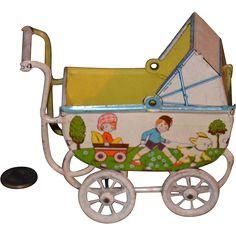Old Doll Tin Litho Carriage Pram German Adorable
