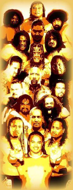 "The great Anoa'i family Pictured from top: High Cheif Peter Maivia, Afa, Sika, Yokozuna, Rikishi Phatu, Samu, Umaga, Afa Jr. (Manu), Samu, Dwayne ""The Rock"" Johnson, Rosey, Roman Reigns, The Tonga Kid, LA Smooth, Reno The Black Pearl, Jimmy Uso, Jey Uso, Lance Anoa'i."