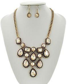 Gold Tone / Yellow Glass / Lead&nickel Compliant / Metal / Fish Hook (earrings) / Necklace & Earring Set