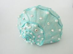 Hand Painted Conch Shell aqua with pearls
