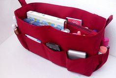 Extra large Bag organizer- Purse organizer insert in Merlot fabric fits  LV Neverfull GM