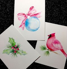 Watercolor Christmas Cards - Laurie May ~ The simplicity of these is gorgeous! Painted Christmas Cards, Watercolor Christmas Cards, Watercolor Cards, Christmas Art, Xmas Cards, Holiday Cards, Cards Diy, Greeting Cards, Paint Cards