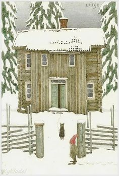 lennart helje ... a cat and a gnome meet in front of a snowy home