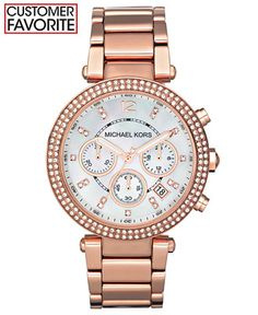 Michael Kors Women's Chronograph Parker Rose Gold-Tone Stainless Steel Bracelet Watch 39mm MK5491 - Michael Kors - Jewelry & Watches - Macy's