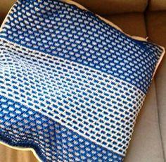Sea pillow - light and dark blue handmade knitted
