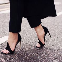 Chic Simply Curve Open Toe Stiletto Heels #Black #Heels