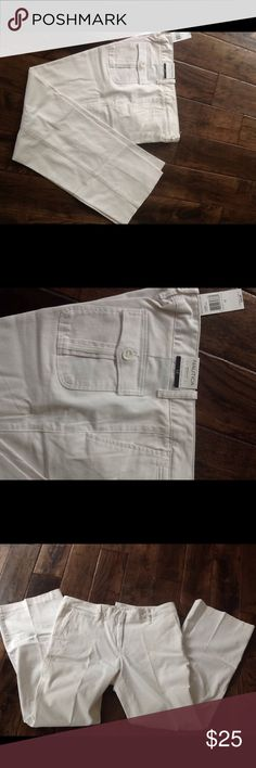 NWT Nautica white Marina fit boot cut pants White Nautica marina fit boot cut pants New With Tags . Sits just below the waist . Size 12, super cute Pants Boot Cut & Flare