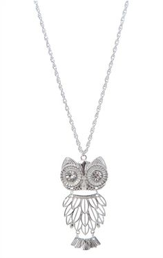 Deb Shops Long #Necklace with #Owl Pendant $6.93