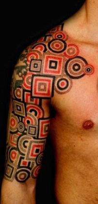 Red & Black Geometric Tattoo..