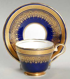 """""""Simcoe"""" china pattern in royal blue with regal gold accents from Aynsley."""