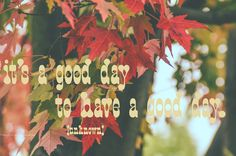 It's a good day to have a good day. E' un buon giorno, per avere un buon giorno. Sta a noi, facciamo che questo giorno sia non buono, ma ottimo!