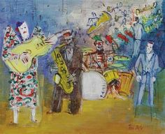 Jean Dufy - Clowns musiciens, oil on canvas
