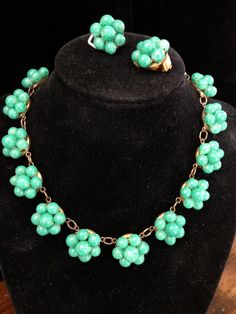 Very Early Vintage Green Italian Glass Necklace by Vintageimagine, $95.00