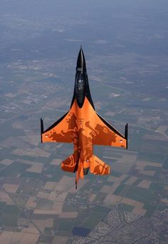 F - 16 falcon jet  orange paint lion logo  netherlands  military team