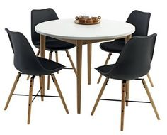 Stół RISSKOV śr.100 + 4 krzesła KLARUP | JYSK