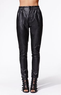 """A PacSun.com Online Exclusive! The women's Run This Town Pants by Evil Twin for PacSun.com offers a faux leather construction and slouchy fit. We love wearing these edgy pants with our slouchy sweaters and ankle boots. High rise 13"""" rise 28"""" inseam Measured from a size small Model is wearing a small Her measurements: Height: 5'9"""" Bust: 34"""" Waist: 25"""" Hips: 36"""" 100% polyurethane Spot clean only Imported"""