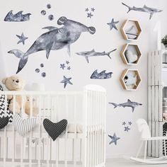Apr 2020 - Vinyl Wall Sticker Decal Art - Big Shark in Grey Ocean Baby Rooms, Ocean Room, Baby Boy Rooms, Baby Boy Nurseries, Shark Nursery, Shark Room, Ocean Themed Nursery, Kids Wall Decor, Baby Room Decor