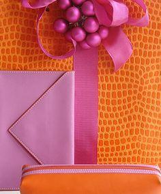 Bright pink & orange colors make presents pop.