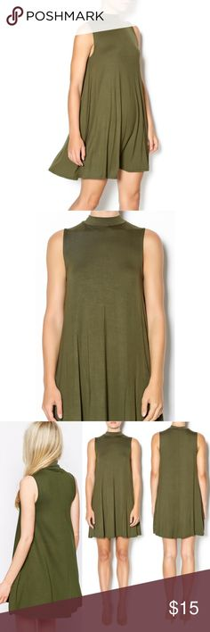 "NWT. Olive green sleeveless swing dress NWT. Olive green sleeveless swing dress. Mock neck. About 33"" long. Size: L but can also fit a M (so M/L). Sorry, no trades. Like the item but not the price, feel free to make me a reasonable offer using the offer button below. Q Dresses Mini"