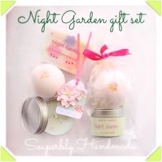 Night Garden gift set, soap, candle and bath bomb, Jasmine, Tuborose and Lavender fragrance by SoaperblyHandmade on Etsy