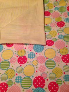 Large Baby Receiving Blanket, Circles, Dots, Stripes, Pinks, Greens, Yellows, Baby Swaddle Blanket, Baby Shower Gift on Etsy, $16.50