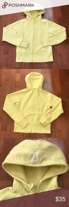 "Lululemon Yellow Sweater Zip up sweater, has a pen mark as shown in one of the pictures. No size tag, bust measures 35.5"" lululemon athletica Sweaters"